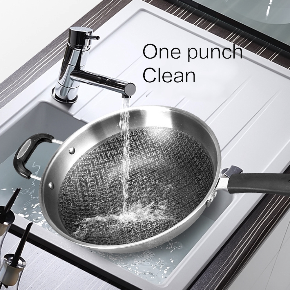 34cm 304 Stainless Steel Frying Pan Smokeless Wok Spatula Food Kitchen Fried Egg Honeycomb Non Stick Wok Cookware Uncoated Pot - 5