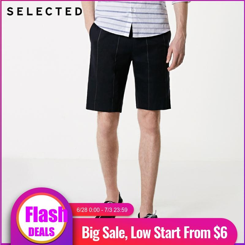SELECTED Men's Straight Fit Linen Vertical Stripes Knee-high Shorts S|4192SN502