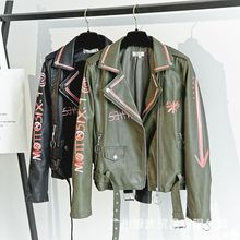 Womens PU Faux Leather Jacket Autumn Winter  Soft Jackets Coats Lady Printed Slim Short Motorcycle Coat