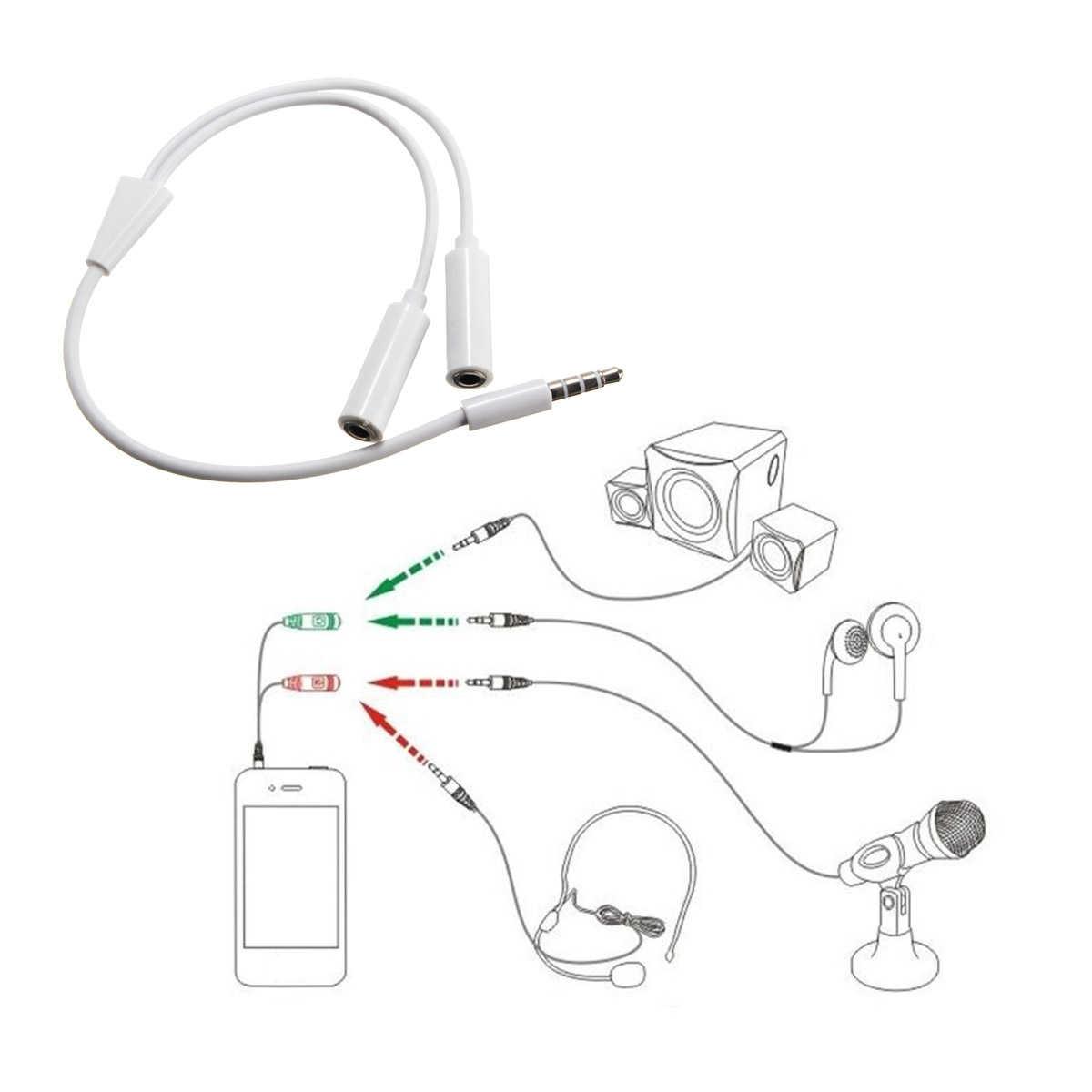 3.5mm Y kabel splittera 1 męski na 2 podwójne żeński kabel Audio do słuchawki zestaw słuchawkowy słuchawki MP3 MP4 Wtyczka stereo linii adapter Jack