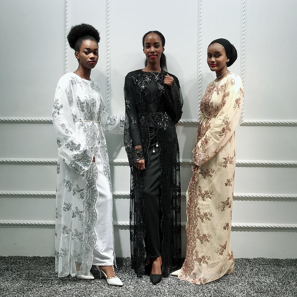 Mesh Sequin Abaya Kimono Cardigan Hijab Muslim Dress Abayas For Women Robe Kaftan Dubai Caftan Marocain Robe Islamic Clothing