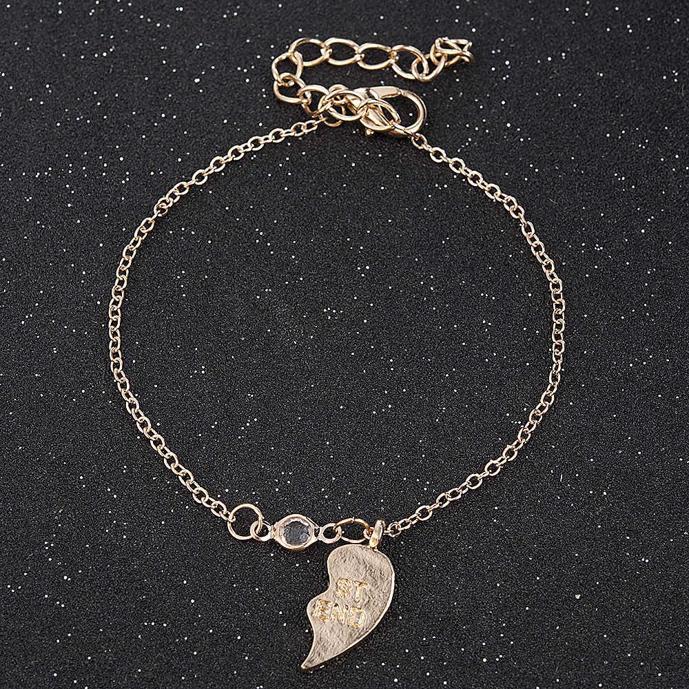 Stylowa biżuteria Unisex 2 sztuk naszyjnik najlepszy przyjaciel mężczyzna kobiet serce wisiorek naszyjnik para złoty kolor łańcuch biżuteria