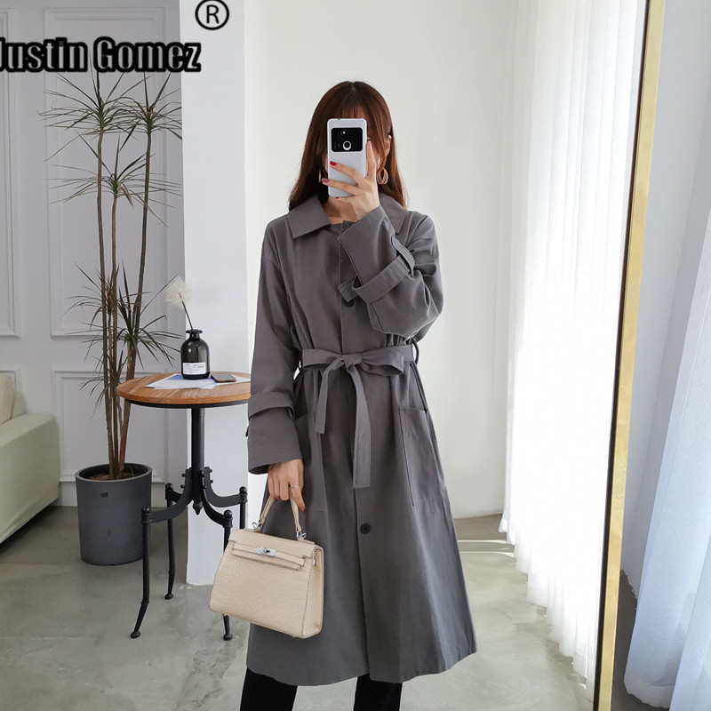 High Quality Lapel Collar Over-the-knee   Trench   Coat for Women Feminine Fashion Korean Version Windproof Long Coat With Belt