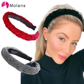 Molans-Pleciona szeroka obręcz do włosów opaska do włosów z pałąkiem modne akcesoria błyszcząca tkanina tanie i dobre opinie CN (pochodzenie) Octan COTTON Poliester WOMEN Dla dorosłych Nakrycia głowy Opaski Moda Stałe LA2184 Beige Black Red Navy
