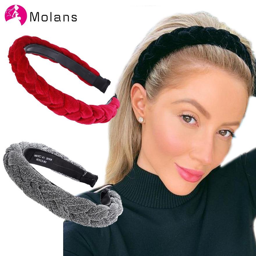 Molans acessórios de cabelo, faixas de cabelo trançadas, brilhantes, arco de cabelo, faixas de cabelo