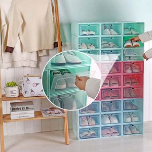 Image 5 - 6Pcs Plastic Shoe Box Stackable Foldable Shoe Organizer Drawer Storage Case with Flipping Clear Door Ladies Men 33.5x23.5x13cm