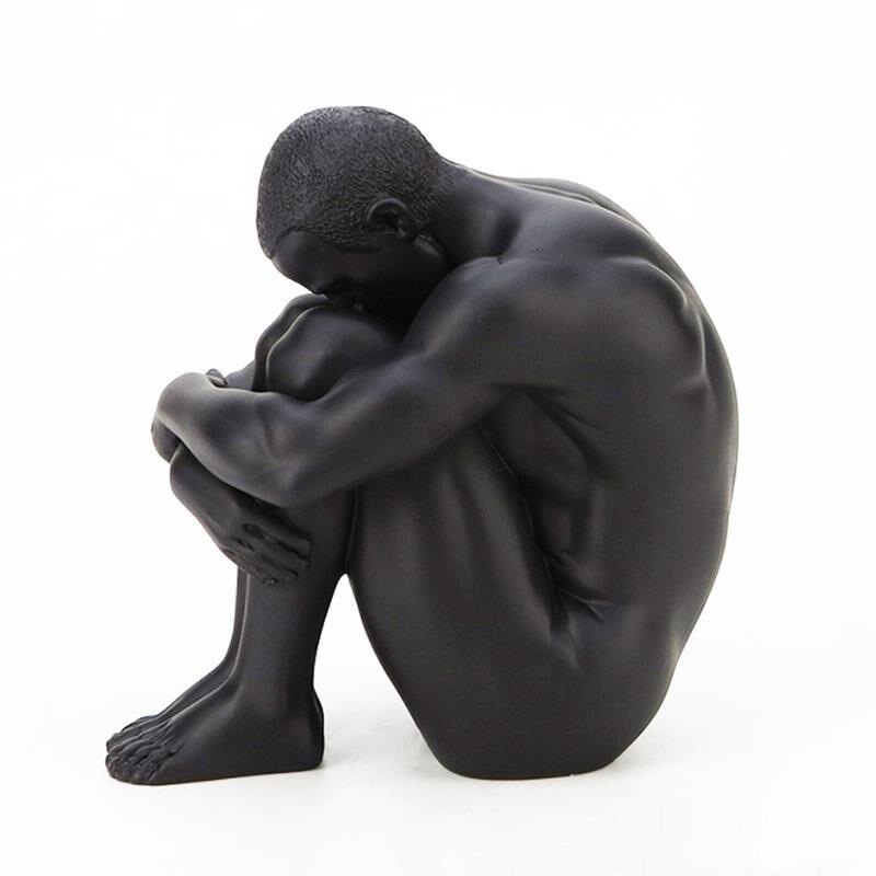 [COS] Titanium Crafts Human Statue Creative Body Art Naked Man Sculpture Decoration Accessories Hug Leg Man