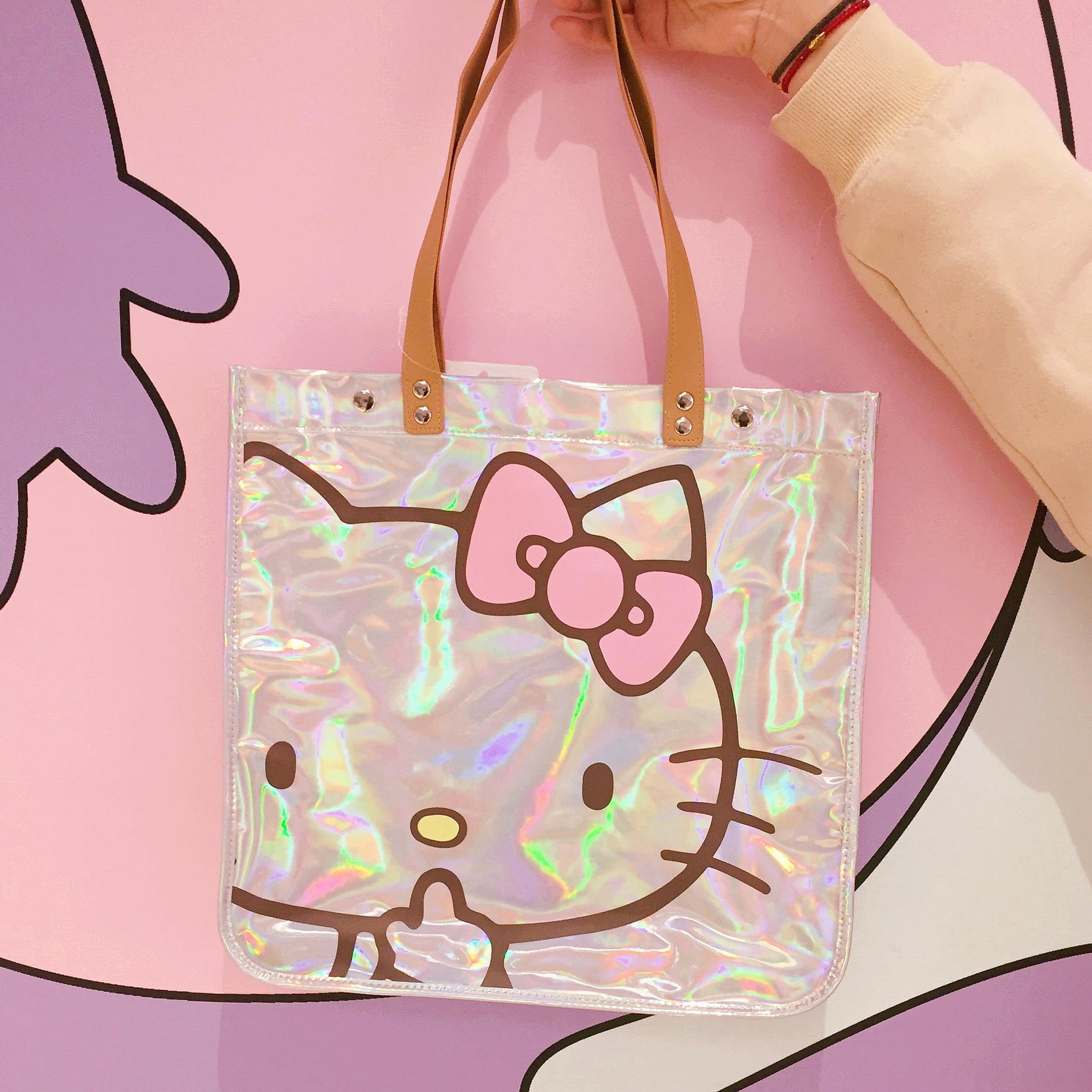 Femmes sac à main Kitty chat éblouissement Laser épaule sac à main imperméable à l'eau grands sacs de créateurs femmes en cuir PU sacs à main et sacs à main de mode