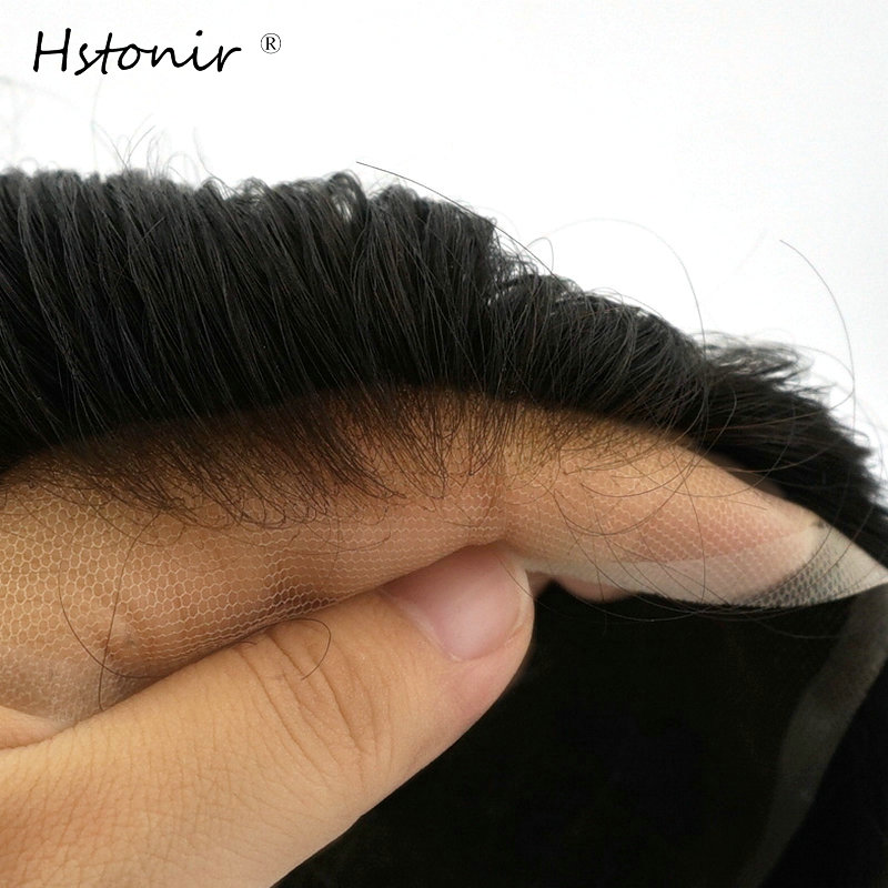 Hstonir Men Swiss Lace Front Wig Toupee Human Remy Hair Replacement Prosthesis Hairpieces H074