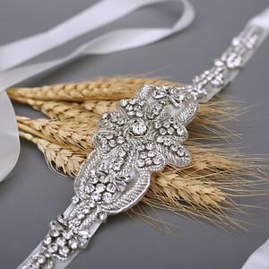 Image 4 - TRiXY S374 יוקרה כלה חגורת כסף חתונת חגורת אבנט Shinny הודי משי חרוזים חגורת רויאל מדליית קרפט יהלומי אבנט כלה חגורת
