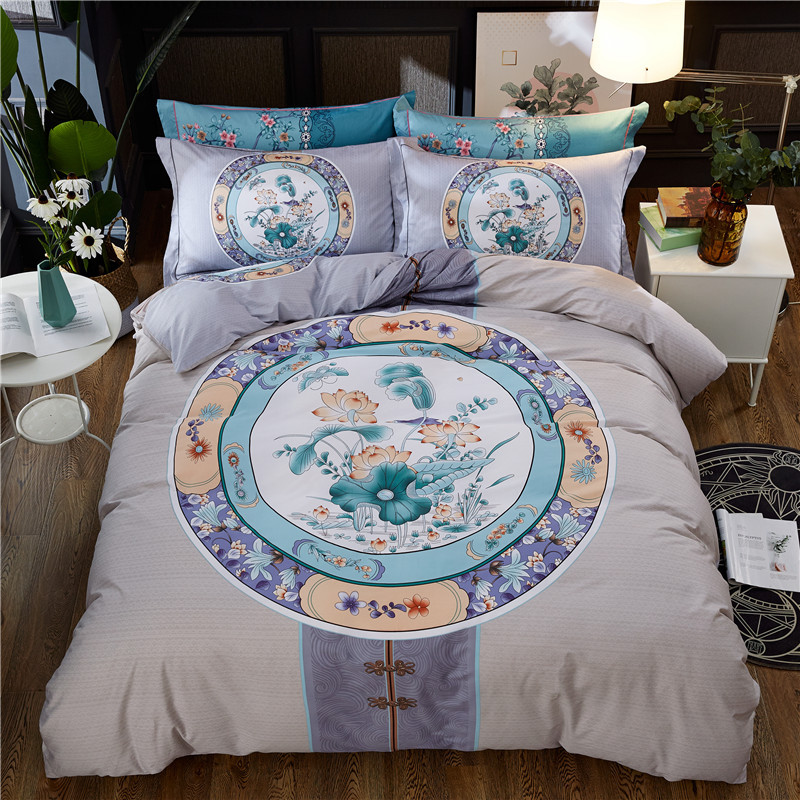 New Products Chinese-style Version Of The Flower Four-piece Set Cotton Quilt Cover Cotton Bed Sheet 1.8 M Bedding Article A Gene