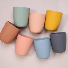 Cor pura portátil bebê lanche copo anti escaldante grau alimentício silicone copo de água aprender a beber copo para crianças