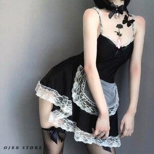 Image 5 - OJBK 섹시한 프랑스의 메이드 코스프레 의상 머리띠와 짧은 미니 레이스 드레스 고딕 다크 컬러 스타일 역할 플레이 란제리 커플