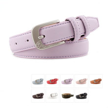 New Female Belt Candy Color PU Leather Women Belt Silver Pin Buckle Fashion Leather Belt 2.3cm Width Skinny Luxury Strap