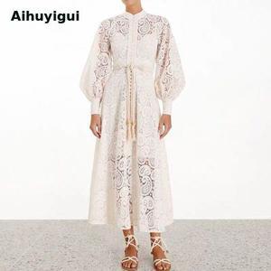Осеннее женское белое кружевное ажурное платье с вышивкой, ажурное длинное платье с рукавами-фонариками и высокой талией, платье с кисточка...