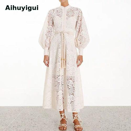Autumn Women White Lace Openwork Embroidery Lace Hollow Out Long Dress Lantern Sleeve High Waist Tassels Sashes Dress Dr670