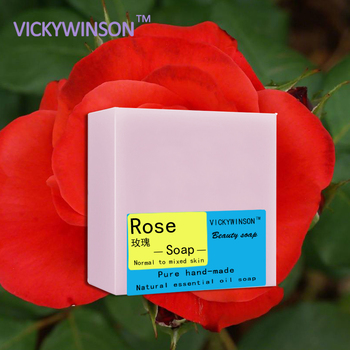 VICKYWINSON Rose handmade soap 100g Natural Plant Essential Oil Handmade Soap Whitening Moisturizing Remove Acne Clean Bath Soap rose soap 100% natural handmade 120g hair skin beauty whitening moisturizing cleaner antibacterial acne treatment