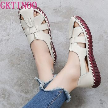 GKTINOO Genuine Leather Women Flats Hollow Woman Shoes Summer Women's Loafers Breathable Beach Female Sandals Big Size 35-42 - discount item  53% OFF Women's Shoes