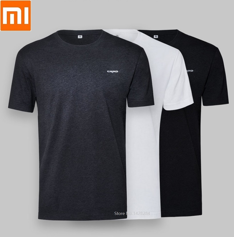 Xiaomi Men's Round Neck Combed Cotton Casual Antibacterial T-shirt Summer Male Comfortable Short Sleeve 2pcs