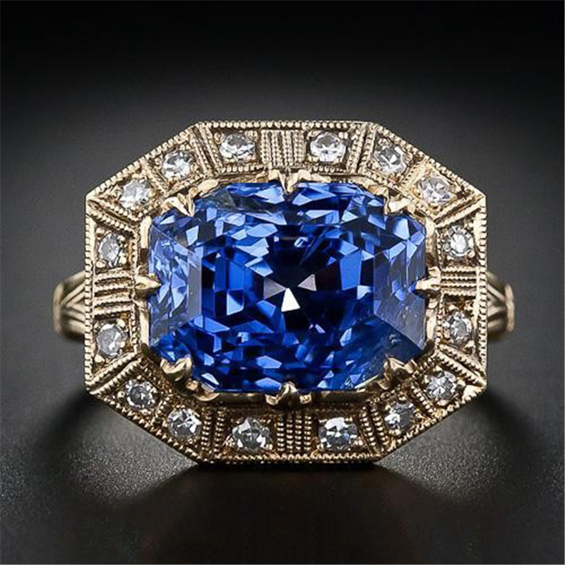 Pure 3 Carat Sapphire Jewelry Gemstone 14K Gold Ring for Women Luxury Bizuteria Anillos De 14K Gold Gemstone Wedding Ring Box