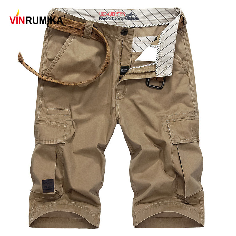 Large Size 30-44 Summer Men's High Quality Military Casual Style Shorts Man 100% Cotton Khaki Multi-pocket Cargo Short Trousers