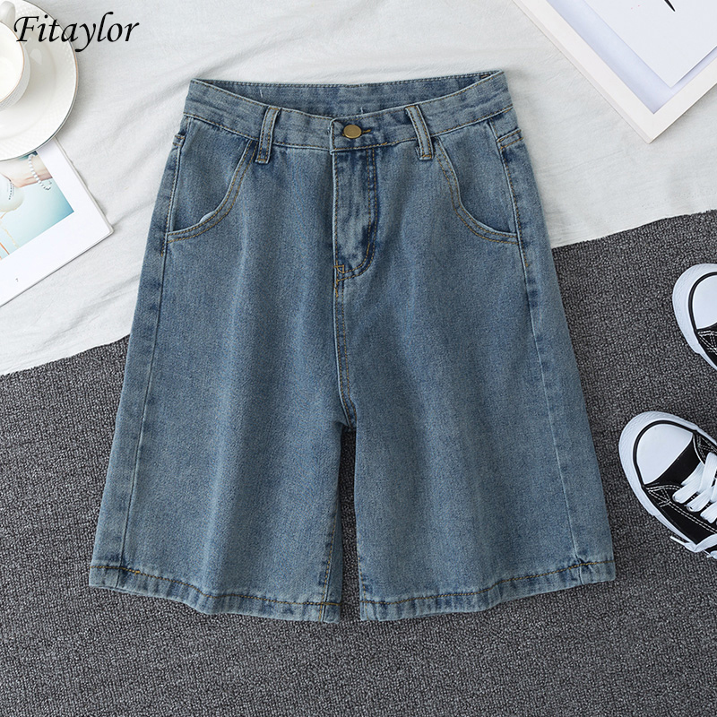 Fitaylor 2020 New Summer Women High Waist Blue Wide Leg Denim Shorts Casual Female Solid Color Streetwear Stright Jeans Shorts