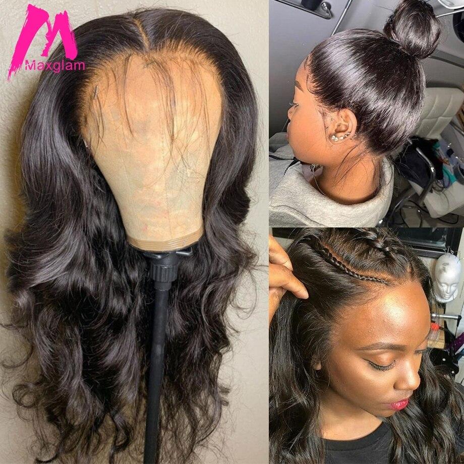 360 koronki frontal peruka ciało fala brazylijski krótki głębokie przodu włosów ludzkich peruk dla czarnych kobiet wstępnie oskubane z dzieckiem włosy 30 cal hd remy