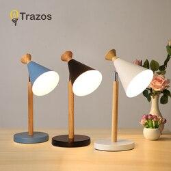 TRAZOS drewniana lampa stołowa w prostopadłościanu do sypialni kreatywna wydrążona lampka nocna z przyciskiem przełącznika Home Deco światła do czytania w Lampy stołowe LED od Lampy i oświetlenie na