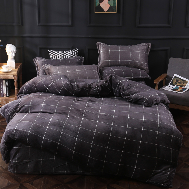 Geometric Winter Bedding Set Flannel Fleece Home Duvet Cover Set 3 Or 4pcs Warm  Bedclothes Pastoral Caroset Star Bed Linen Set