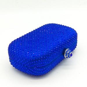 Image 3 - Boutique De FGG królewskie niebieskie cyrkonie sprzęgła damskie torby wieczorowe torebka ślubna wesele kryształowa torebka łańcuszkowa torba na ramię