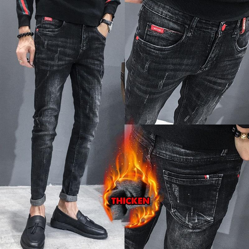 Hot 2019 Autumn Winter Thermal Men's Jeans Trendy Korean Plus Velvet Youth Slim Pencil Feet Casual Skinny Jeans Men Long Pants