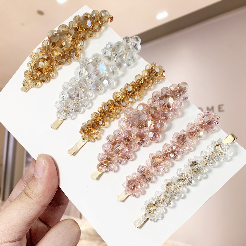Rhinestone Ladies Hairpins BB Clip Hair Clips For Women Transparent For Hair Side Modeling Tool Fashion Hair Accessories
