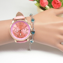 Quartz Watch  Leather Band Women Ladies Men Fashion Bracelet Wrist Wristwatches Clock relogio feminino masculino Glass