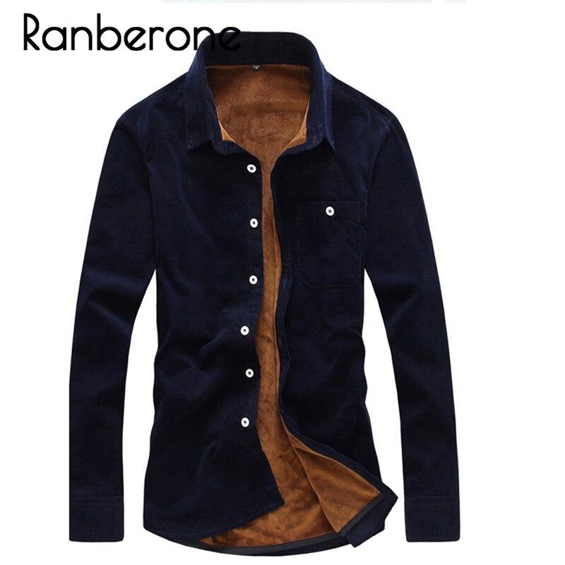 2019 New Fashion Mens Flannel Shirt High Quality Winter Shirt Men Slim Fit Long Sleeve Thermal Warm Velvet Padded Hawaiian Shirt