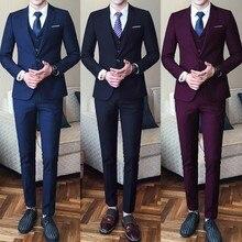 Лучшие деловые вечерние мужские костюмы из трех предметов с острым отворотом на одной пуговице, смокинги для жениха на свадьбу 2019 (пиджак + брюки + жилет)