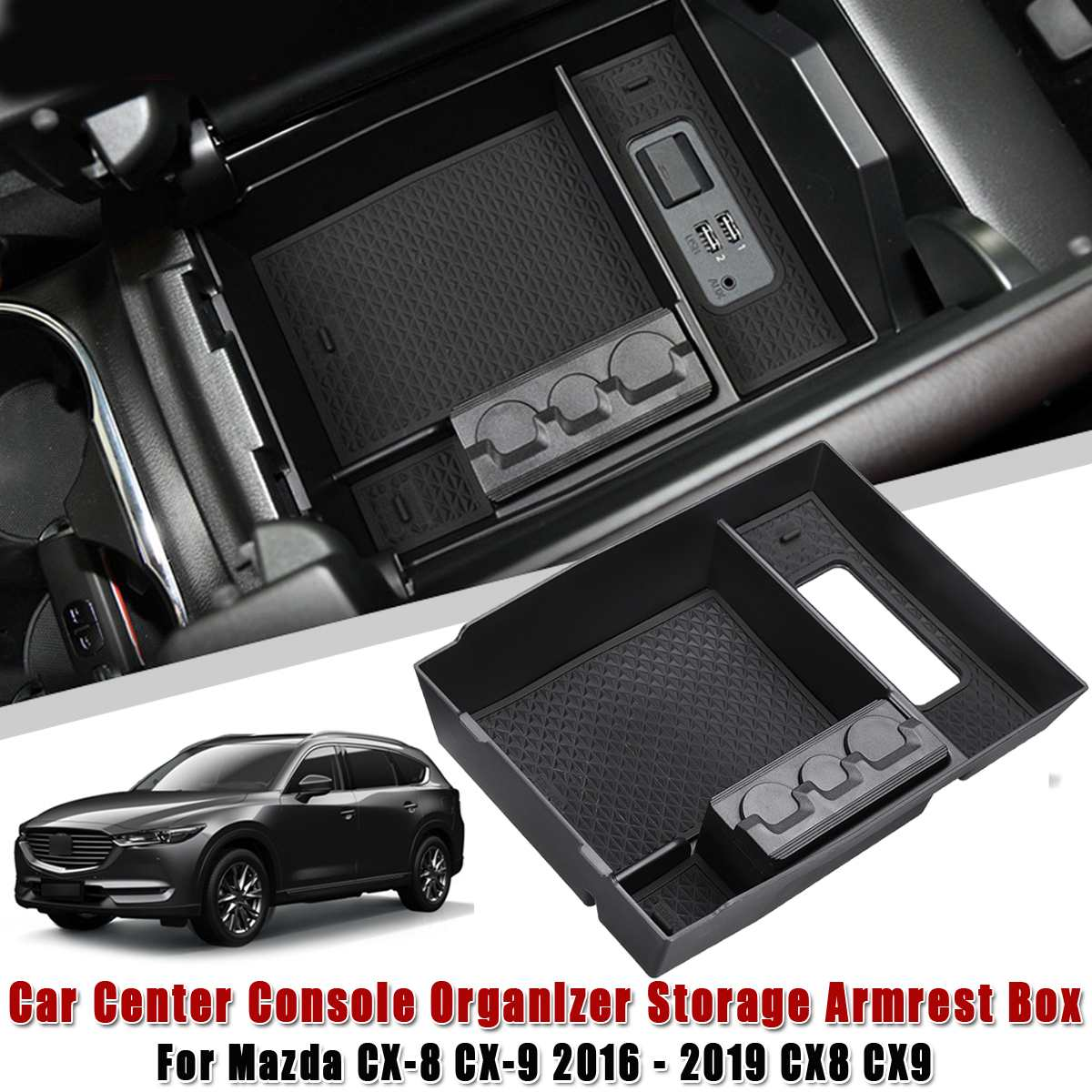Car Central Armrest Box Stowing Tidying Center Console Organizer Tray For <font><b>MAZDA</b></font> <font><b>CX</b></font>-8 <font><b>CX</b></font>-<font><b>9</b></font> 2016 - 2019 CX8 CX9 Car <font><b>Accessories</b></font> image