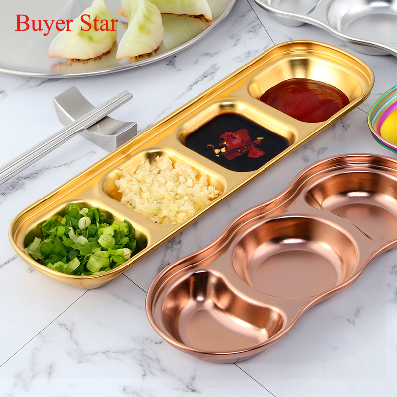 Stainless Steel Seasoning Dish Sauce Snack Plates Dip Dishes Saucer Tray Divided
