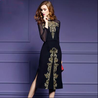 Embroidery Black Vestidos Dress 1