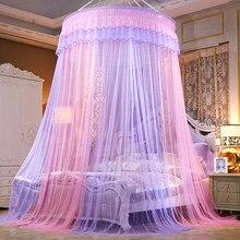 Cama dossel pendurado mosquito-prova net redonda superior princesa cama tenda cortina dobrável dossel na cama de fadas rendas dossel colorido