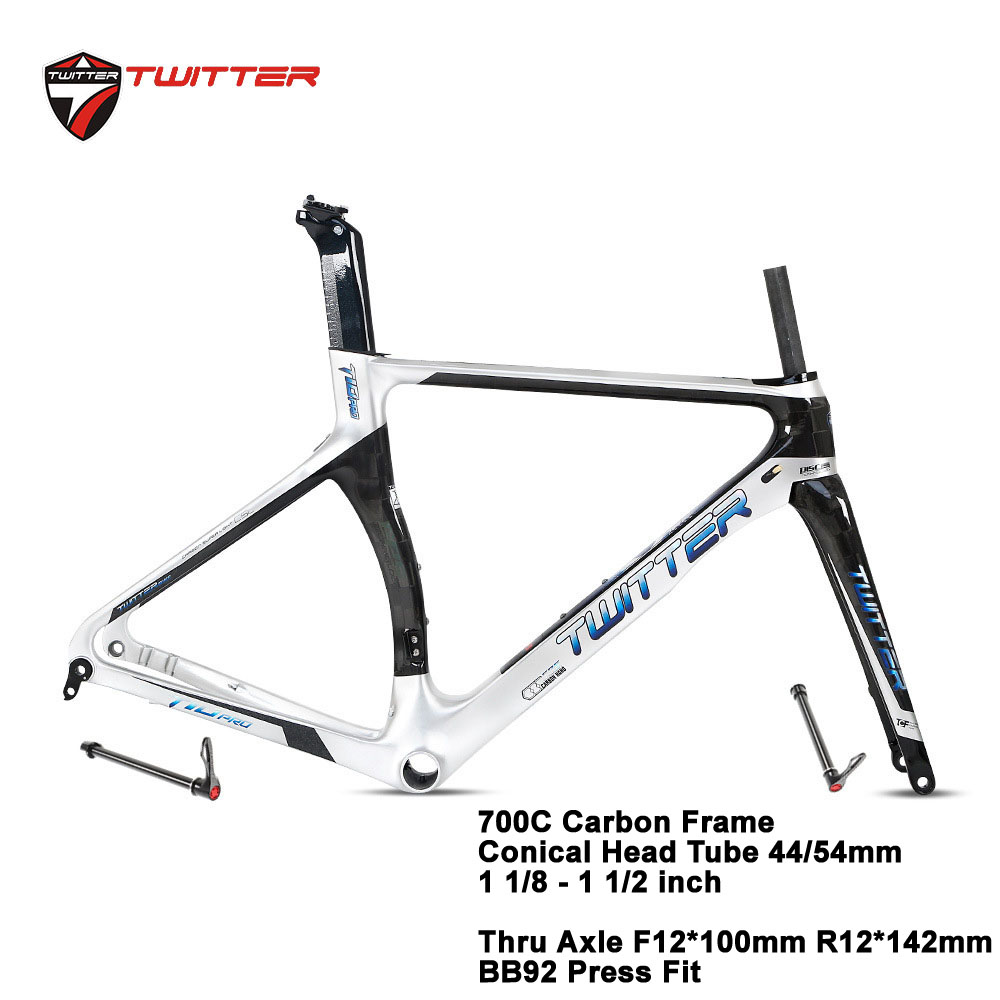 Road Carbon Frame Twitter T10pro Disc-cutting Thru-axle Shaft 700c Carbon Road Frame Disc Brake Come With Carbon Fork Seatpost