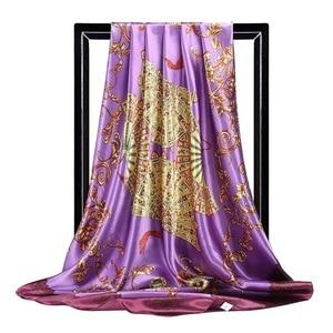 Image 3 - 2020 90*90 سنتيمتر مربع النساء الأوشحة وشاح حريري مكتب السيدات الشعر الرقبة باندانا عقال foulard أغطية الرأس حجاب إسلامي الإناث