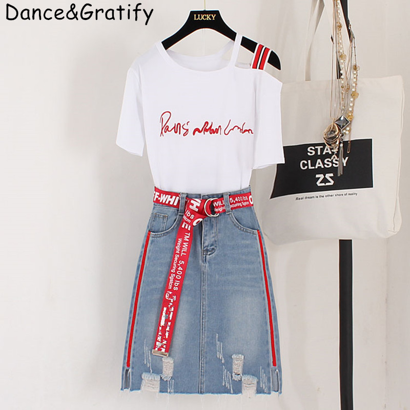 2020 New Summer Fashion Women's Chic Sets Letter Embroidery Short Sleeve Cotton Tshirt + Hole Denim Skirts Students 2 Piece Suit