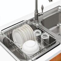 Escurridor de vajilla para el fregadero, estante de secado de platos extensible sobre el fregadero, soporte para cubiertos, bandeja de acero a prueba de óxido para Cocina
