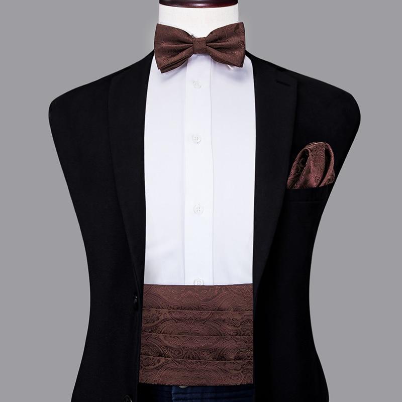 YF-2020 Mens Brown Cummerbunds Bow Ties Pocket Squares Cufflinks Set Men's Adjustable Pleated Tuxedo Cummerbunds Elastic Belt
