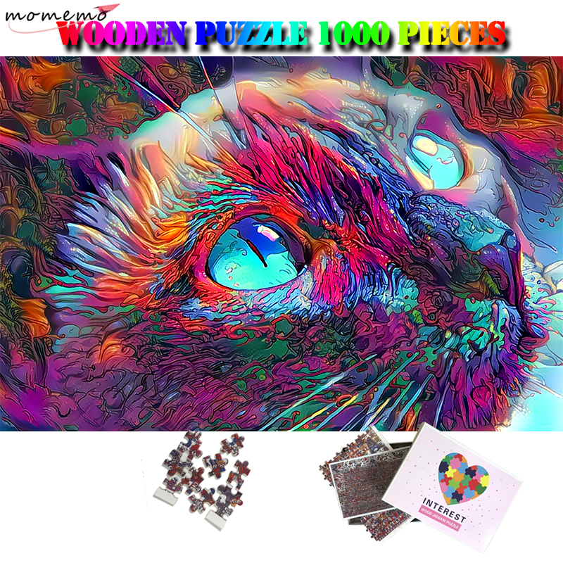 MOMEMO Colorful Cat Jigsaw Puzzle 1000 Pieces Wooden Puzzle Adults 1000 Pieces Creative Puzzle Games For Kids Wooden Gifts Toys