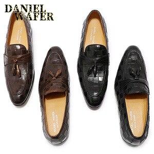Image 2 - 高級メンズローファーイタリア本革の靴のファッションチェック柄プリントレースアップウェディングオフィスカジュアルドレスシューズ男性