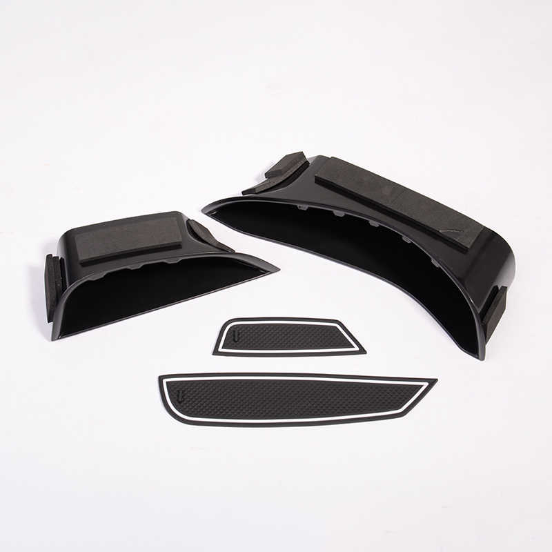 Black Car Door Handle Storage Box Tray with Mat Acessories For Mercedes Benz C-Class W205 GLC Class X253 2015 2016 2017-2019