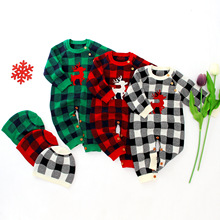 Baby Boy Girl Clothes Christmas Romper Newborn Deer Plaid Knitted With Hat Costume Infant Jumpsuit