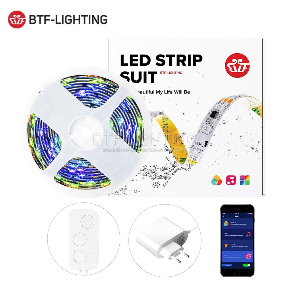 LED Strip Light Kit TV Backlight 5M 150LED Bluetooth App Music Controller WS2811 RGB Dream Color IP65 Ribbon for Decoration 12V