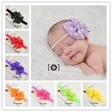 solid color baby 1cm nylon elastic headbands hair bands with 8cm dots grosgrain bow infant headwear girls hair accessory 120pcs